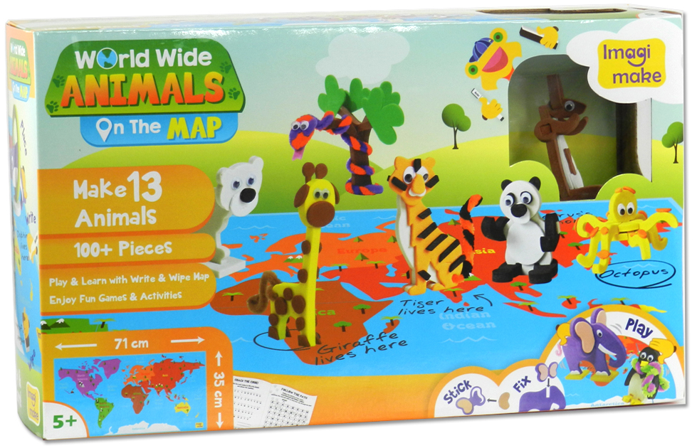 Imagimake Worldwide animals on the map-box